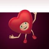 Valentine heart cartoon holding blank banner Royalty Free Stock Photo