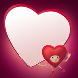 Valentine heart cartoon holding blank banner Royalty Free Stock Photos