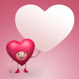 Valentine heart cartoon holding message tag Royalty Free Stock Photos