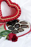 Valentine Heart, Chocolate & Rose Stock Image