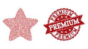 Valentine Heart Collage d'icône de Red Star et de joint en caoutchouc illustration de vecteur