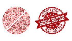 Valentine Heart Collage d'icône de Tablette de médicament et de filigrane grunge illustration stock