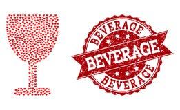 Valentine Heart Collage d'icône de tasse de vin et de joint grunge illustration libre de droits