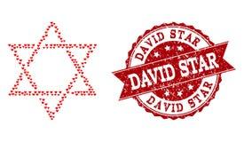 Valentine Heart Collage de David Star Icon et de filigrane grunge illustration de vecteur