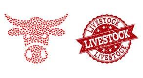 Valentine Heart Collage de l'icône principale de vache et du joint en caoutchouc illustration de vecteur