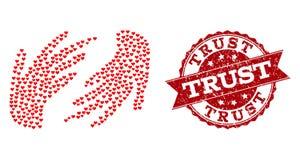 Valentine Heart Collage del icono de las manos y del sello del Grunge ilustración del vector