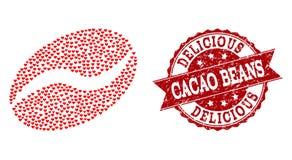Valentine Heart Collage der Kakaos Bean Icon und der Schmutz-Dichtung stock abbildung