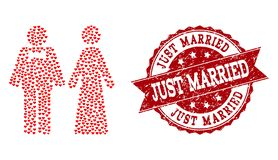 Valentine Heart Collage of Just Married Persons Icon and Grunge Stamp stock illustration