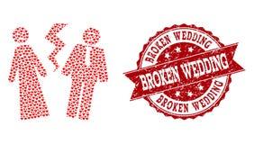 Valentine Heart Collage van Gebroken Huwelijkspictogram en Grunge-Watermerk royalty-vrije illustratie