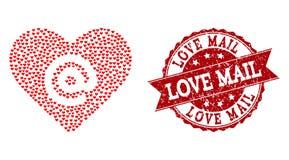 Valentine Heart Collage van het Dateren van het Pictogram van het Hartadres en Grunge-Verbinding royalty-vrije illustratie