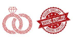 Valentine Heart Collage van het Watermerk van Diamond Wedding Rings Icon en Grunge- vector illustratie