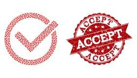 Valentine Heart Collage von nehmen Tick Icon und Stempel an vektor abbildung