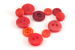 Valentine Heart of color buttons. Various sewing buttons set on Royalty Free Stock Photography