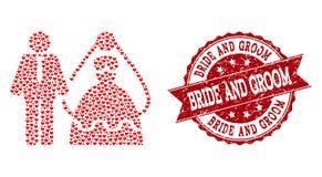 Valentine Heart Composition av bruden och brudgum Icon och Grungestämpel vektor illustrationer