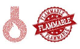 Valentine Heart Composition av den brännbara flaskasymbolen och Grungeskyddsremsan vektor illustrationer