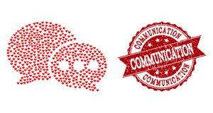 Valentine Heart Composition av forummeddelandesymbolen och Grungevattenstämpeln royaltyfri illustrationer