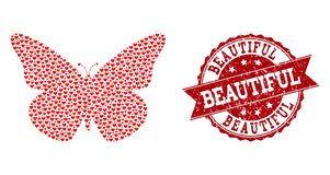 Valentine Heart Composition d'icône de papillon et de joint grunge illustration libre de droits