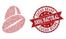 Valentine Heart Composition del icono de las habas del cacao y del sello del Grunge stock de ilustración