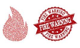 Valentine Heart Composition del icono del fuego y de la filigrana del Grunge stock de ilustración