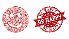 Valentine Heart Composition van Glad Smiley Icon en Rubberwatermerk vector illustratie