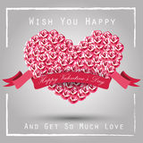 Valentine heart concept of roses with pink ribbon Stock Photos