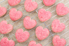 Valentine Heart Cookies on Cooling Rack Royalty Free Stock Photography