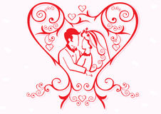 valentine heart with couple Royalty Free Stock Photography