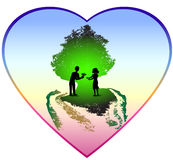 Valentine heart with a couple under green tree Royalty Free Stock Photography