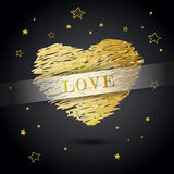 Valentine heart created from golden lines Stock Images