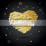 Valentine heart created from golden lines Royalty Free Stock Image