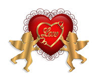 Valentine Heart and Cupids 3D Stock Photo