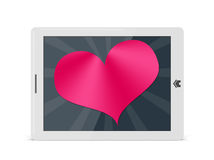 Valentine heart on digital pad Royalty Free Stock Photography