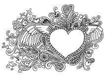 Valentine Heart Doodles a mano Imágenes de archivo libres de regalías