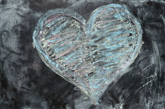 Valentine heart drawn with chalk Stock Images
