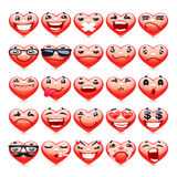 Valentine Heart Emoticons Collection Royalty-vrije Stock Foto's