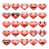 Valentine Heart Emoticons Collection Fotos de archivo libres de regalías
