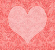 Valentine Heart on Faded PInk Damask Royalty Free Stock Image