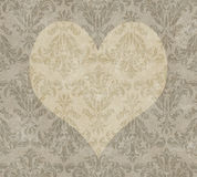 Valentine Heart on Faded Taupe Damask Stock Photography