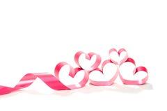 Valentine Heart Fita vermelha elegante do presente do cetim Foto de Stock