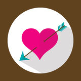 Valentine heart, flat icon with long shadow, vector Royalty Free Stock Photo