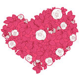 Valentine heart in floral style. Red valentine heart in floral style isolated on background royalty free illustration