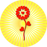 Valentine heart flower. Illustration of a heart flower on a circle sunny background vector illustration