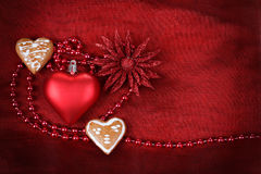 Valentine heart with flower on red background Stock Photography