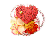 Valentine heart and flowers Stock Photos