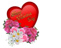 Valentine Heart and Flowers Royalty Free Stock Images