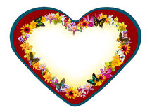 Valentine heart with flowers and butterflies Stock Images