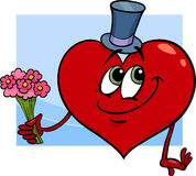 Valentine heart with flowers cartoon Royalty Free Stock Image