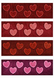 Valentine heart four banners Stock Image