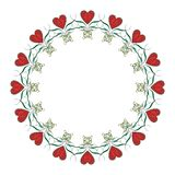 Valentine heart frame. Empty drawn circle frame with hearts on a white background. Computer picture Stock Images
