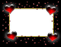 Valentine Heart Frame on Black. Large red neon hearts with scattered smaller hearts with a white text area bordered in yellow on a black background vector illustration